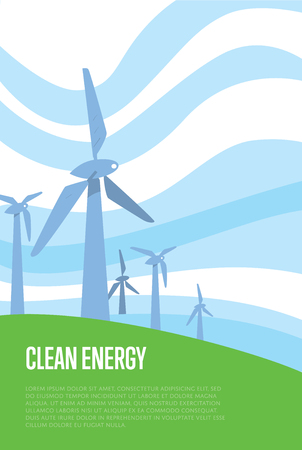 windfarm: Clean energy banner. Wind power generation