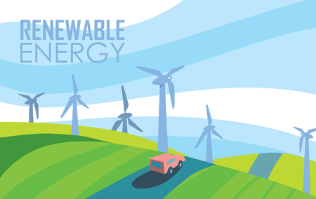 windfarm: Renewable energy banner. Wind power generation