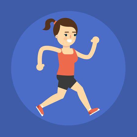 endurance run: Running girl icon. Active lifestyle Stock Photo
