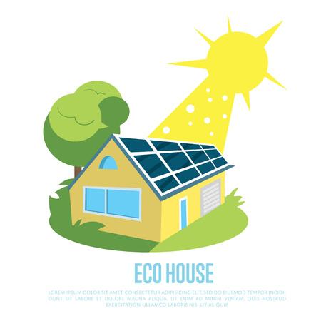 Eco casa con pannelli solari blu sul tetto. Archivio Fotografico - 74234550
