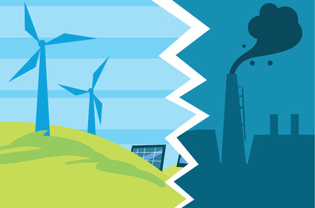 Evolutie van industriële vervuiling tot eco-energie Stockfoto