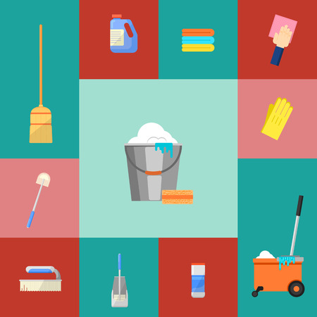 squeegee: Cleaning icons set