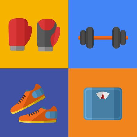 weigher: Raster illustration of gym sports equipment icons set. Boxing gloves, sports shoes, dumbbells and weigher on color background. Healthy lifestyle. Athletic equipment. Different tools for sport.