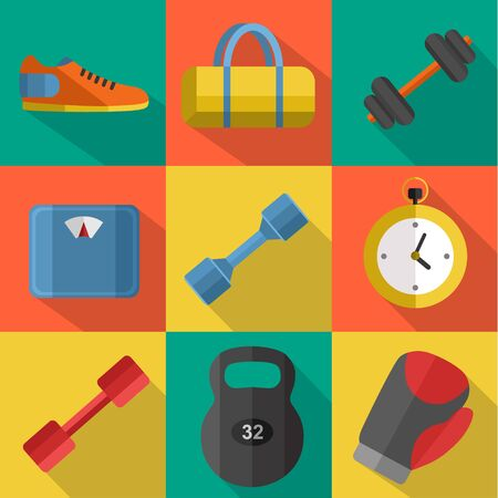 weigher: Raster illustration of gym sports equipment icons set. Boxing gloves, weight, bag, sports shoes, dumbbell, stopwatch and weigher on color background. Flat signs with long shadow