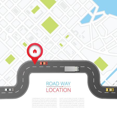 Koncepcja nawigacji z ilustracji wektorowych wskaźnik pin. Mapowanie kartograficzne, przypinanie interfejsu użytkownika, odkrycie, geotag, geolokalizacja turystyczna. Baner systemu nawigacji GPS. Pin lokalizacji na mapie miasta w perspektywie.