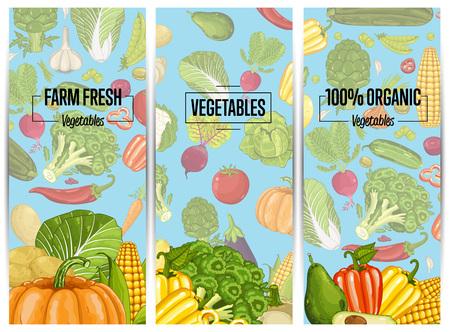 Organic vegetable farming flyers set Stok Fotoğraf - 74625296