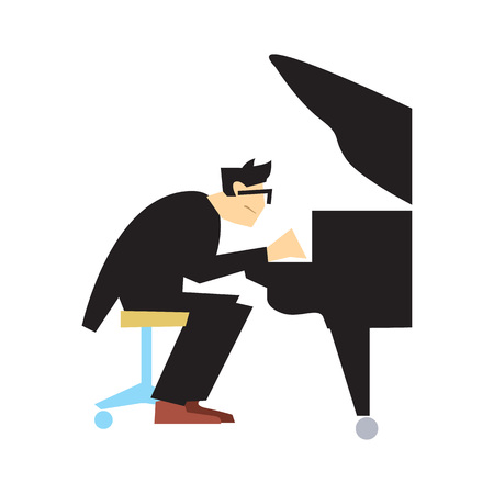 Musician playing piano isolated vector Illustration