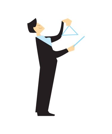 Musician playing musical triangle isolated vector