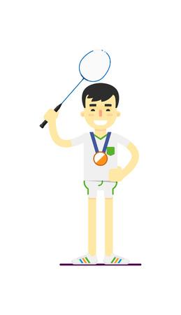 Smiling man badminton player with medal Illustration