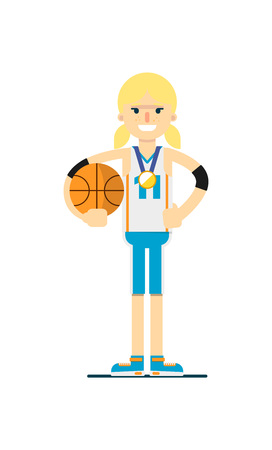 mujer deportista: Sonriente, mujer, baloncesto, jugador, pelota Vectores