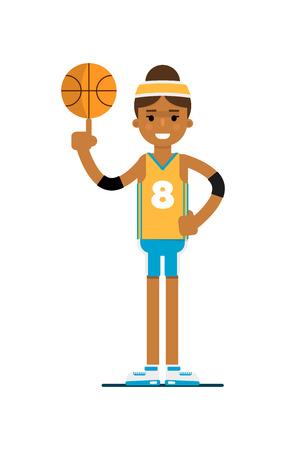 Young black woman basketball player with ball Illustration