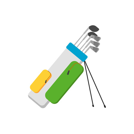 Golf clubs set in bag isolated vector