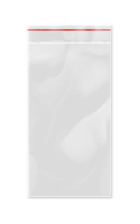 Empty transparent plastic zipper bag. Illustration