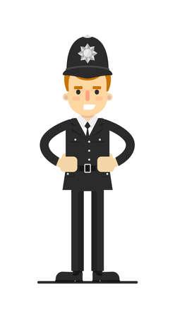 patrolman: British policeman in uniform. Illustration