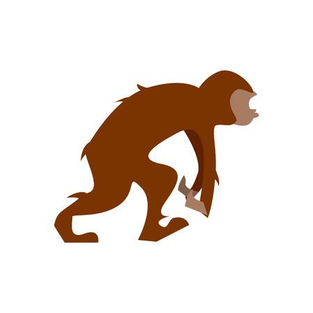 Big humanoid monkey going in flat design