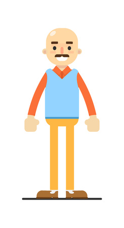 Adult bald man with mustache character