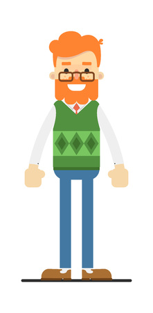 handsome men: Happy redheaded bearded hipster character Illustration
