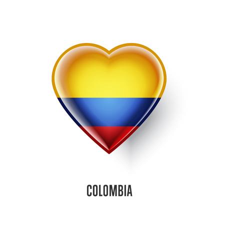 Symbole du coeur patriotique avec le drapeau colombien Vecteurs