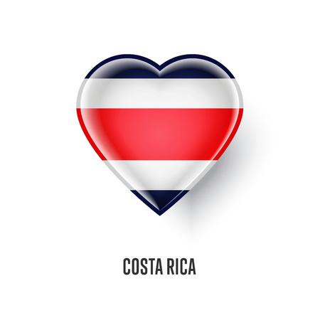 Patriotic heart symbol with Costa Rica flag