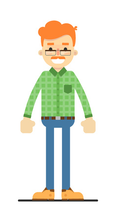 Adult redheaded man in shirt and pants