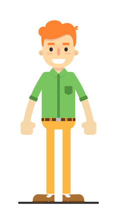 redheaded: Young happy redheaded guy in shirt and pants