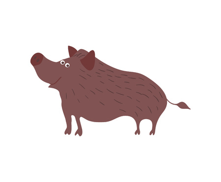 Wild boar personage vector illustration Illustration