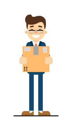 Happy businessman hold delivery package