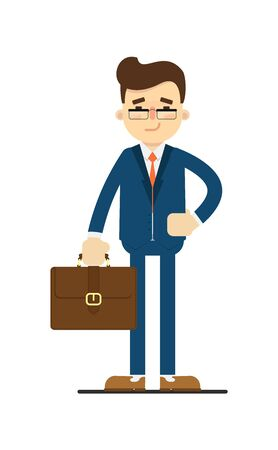 Happy businessman hold leather briefcase isolated on white background vector illustration. Smiling man in blue business suit in flat design.