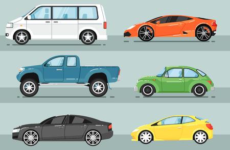 Modern city car isolated vector set