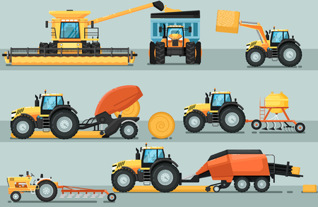 comercial: Modern agricultural vehicle isolated set