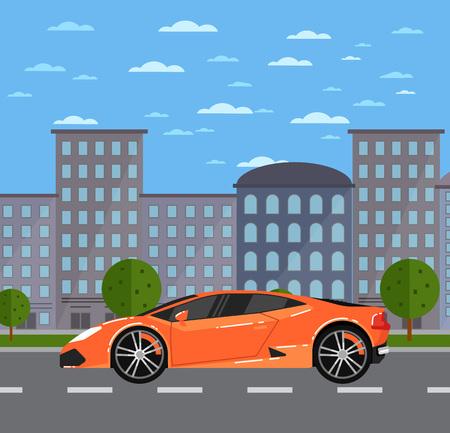 都市景観における高級スポーツ車