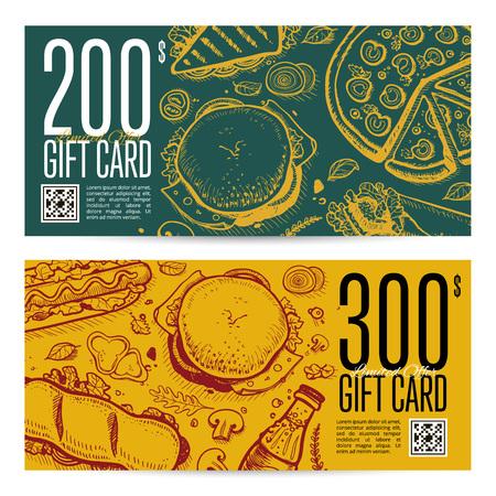 Fast food restaurant gift card set
