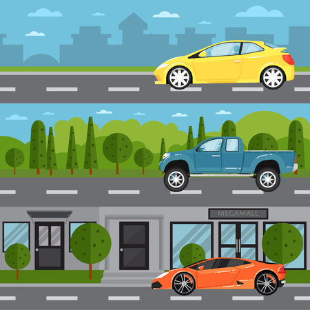 rural road: Sport car, universal and pickup on highway. Road traffic vector illustration set with countryside and cityscape background. Modern automobile, people transportation, auto vehicle in flat design
