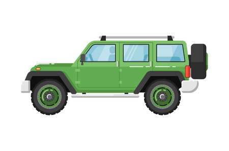 Extreme travel car isolated vector illustration
