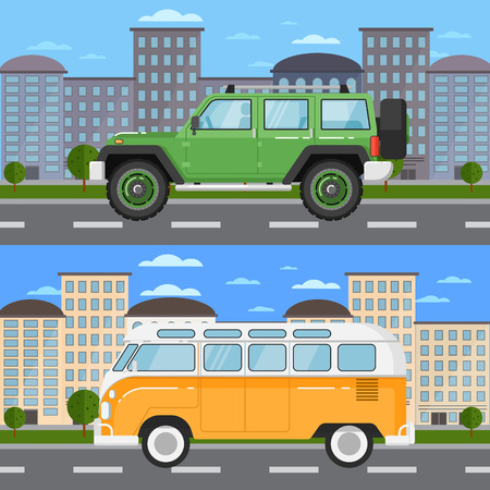 Off road car and retro bus in urban landscape