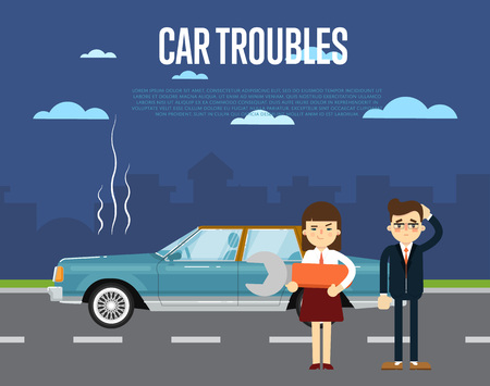 business woman: Car troubles banner with people standing near broken car on road. Illustration
