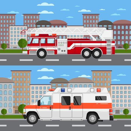 Fire truck and ambulance car in urban landscape Illustration