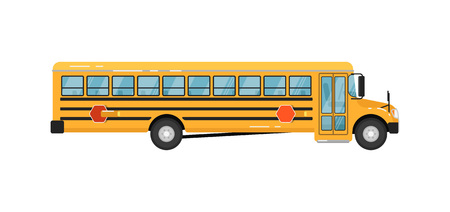 Yellow school bus isolated vector illustration