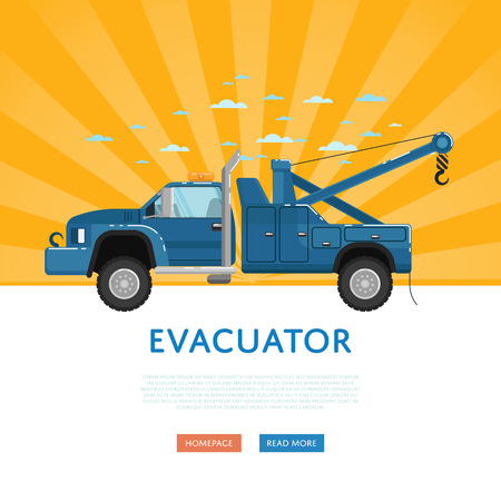 evacuating: Website design with tow truck Illustration