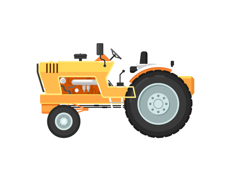 Vintage farm tractor isolated vector illustration Illustration