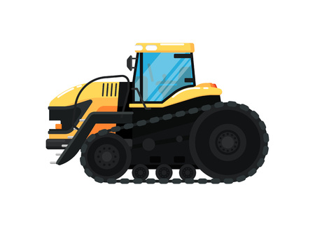 Crawler agriculture tractor vector illustration Illustration