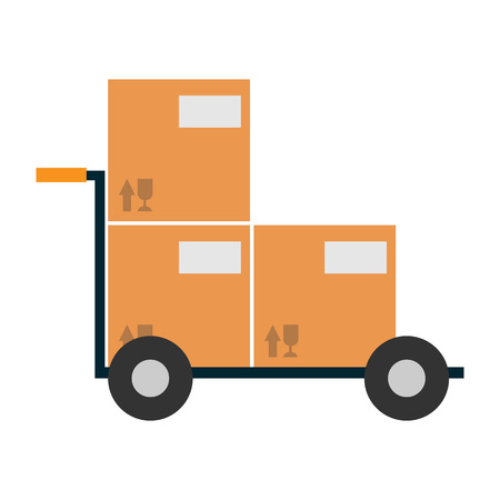 ardboard: Delivery icon with ?ardboard box on cart. Global or local shipping service vector illustration isolated on white background.