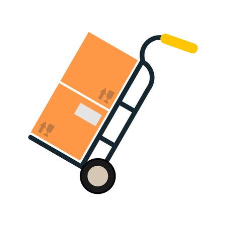 ardboard: Delivery icon with ?ardboard box on truck. Illustration