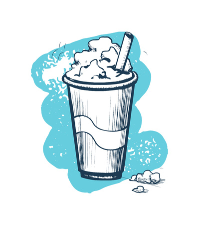 Milk shake hand drawn vector icon