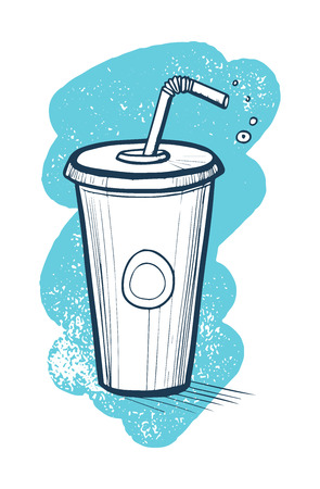 Cold drink in plastic cup hand drawn vector icon