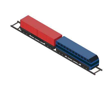 Railway cargo wagon isometric icon.