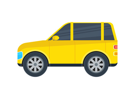 jeep: Off road jeep isolated icon. SUV car, modern automobile, people transportation side view vector illustration.