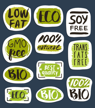 soy free: Organic food hand drawn labels set vector illustration. Vegetarian, gmo free, fresh and natural, vegan, soy free, healthy diet, lifestyle, low fat food, organic products, bio and eco nutrition concept