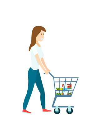 Young woman with supermarket shopping cart