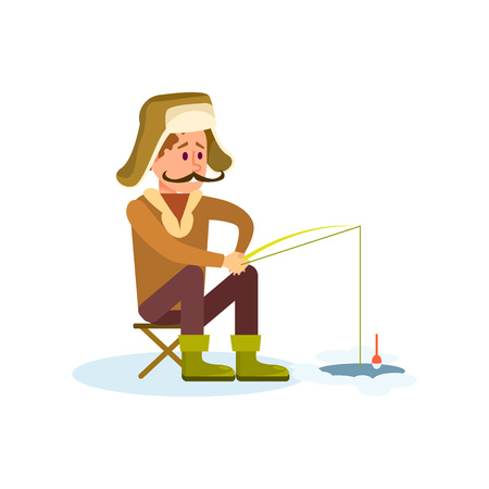 Winter fishing icon with fisherman